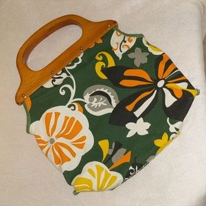 J Crew Green Colorful Floral Wooden Handle Purse